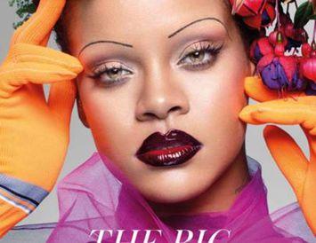Rihanna tekur sig vel út á litríkri forsíðu breska Vogue í september.