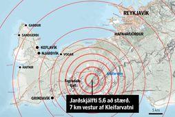 Stærsti jarðskjálftinn var 5,6 að stærð. Upptök hans voru á Núphlíðarhálsi á Reykjanesskaga.