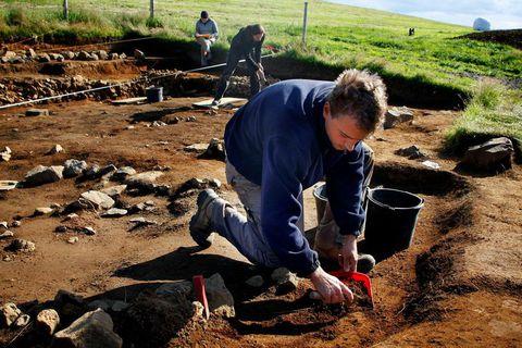 The excavation at Hrísbrú in Mosfellsdalur.