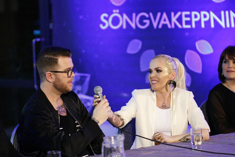 Svala and her team answer questions following her win at Iceland's preliminary contest on Rúv ...