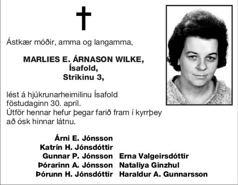 Marlies E. Árnason Wilke,