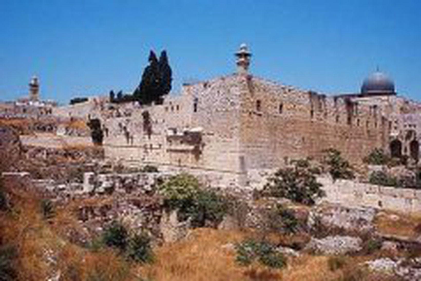 Borgarmúrar Jerúsalem sem Heródes lét reisa.