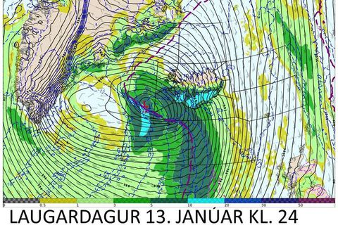 The worst storm will probably hit Iceland on Saturday evening.