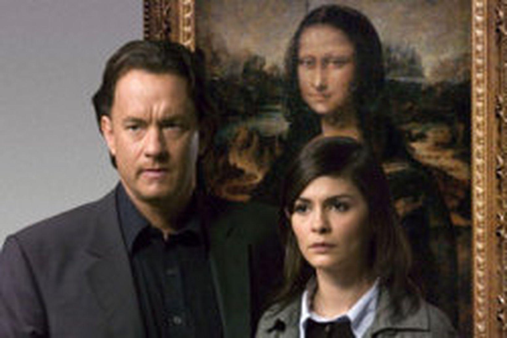 Tom Hanks og Audrey Tautou framan við málverkið af Monu …