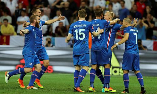 Iceland celebrating their take-down of England in Nice.