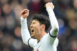 Heung-Min Son fagnar marki fyrir Tottenham.