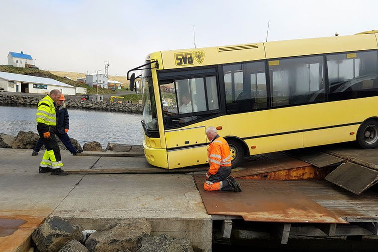 The bus arrived with the ferry yesterday.
