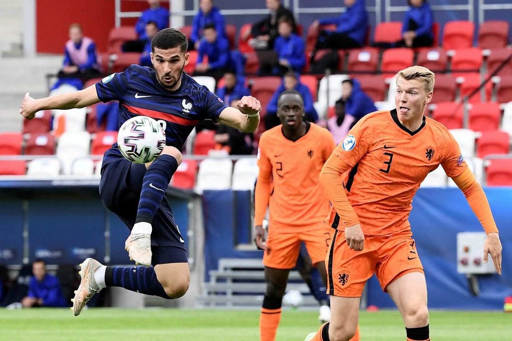 Houssem Aouar í leik með franska U21 árs landsliðinu.