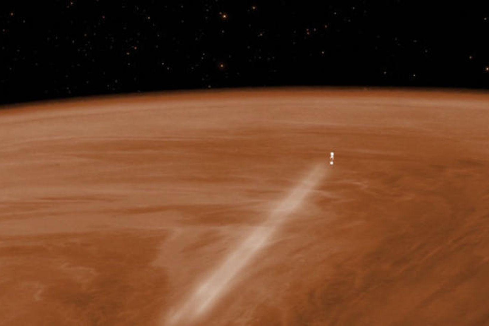Tölvumynd af Venus Express við lofthemlun í lofthjúpi Venusar.