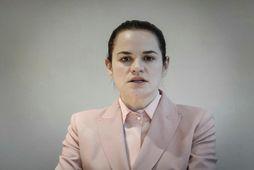 Svetlana Tsíkanovskaja, leiðtogi stjórnarandstöðu Hvíta-Rússlands.