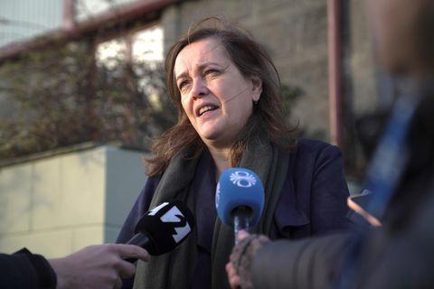 Minister of Health Svandís Svavarsdóttir, speaking to reporters this morning.