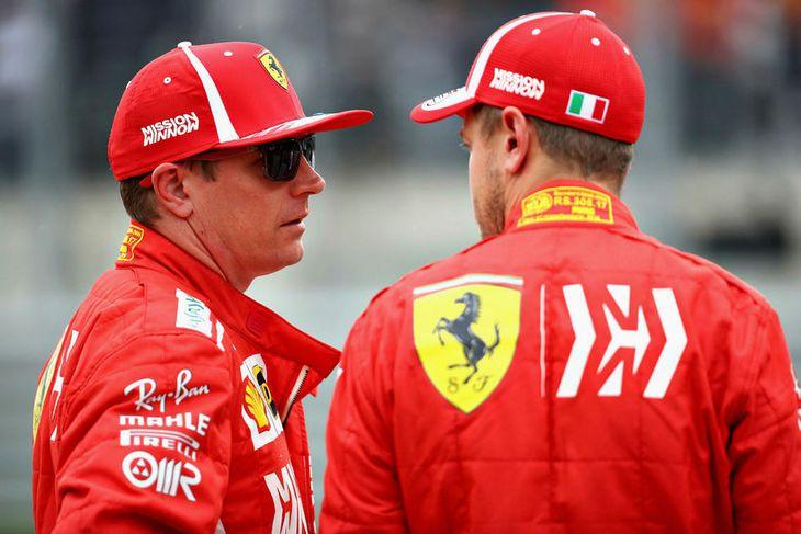 Sebastian Vettel (t.h.) og Kimi Räikkönen unnu saman í dag.