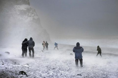 Reynisfjara Beach is a popular place to visit, though it can get very cold this time of year.