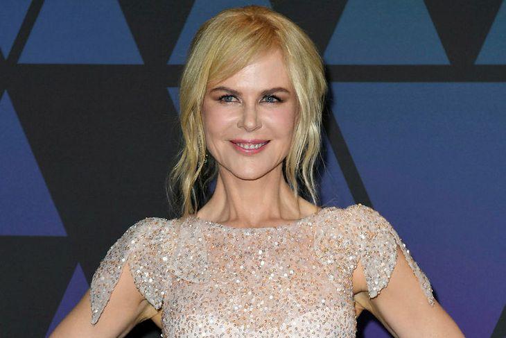 Leikkonan Nicole Kidman geislaði í fallegum pallíettukjól.