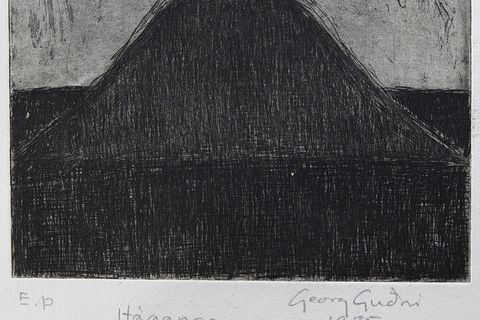Georg Guðni, Mt. Háganga, 1985. Line etching. Sheet (irregular): 7 7/8 x 8 in. Artist's proof. Courtesy of the estate of Georg Guðni and Hverfisgallerí